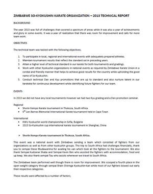 2013 Technical Report in Zimbabwe