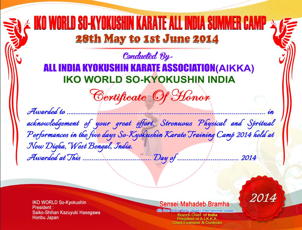IKO WORLD SO-KYOKUSHIN KARATE ALL INDIA SUMMER CAMP 2014