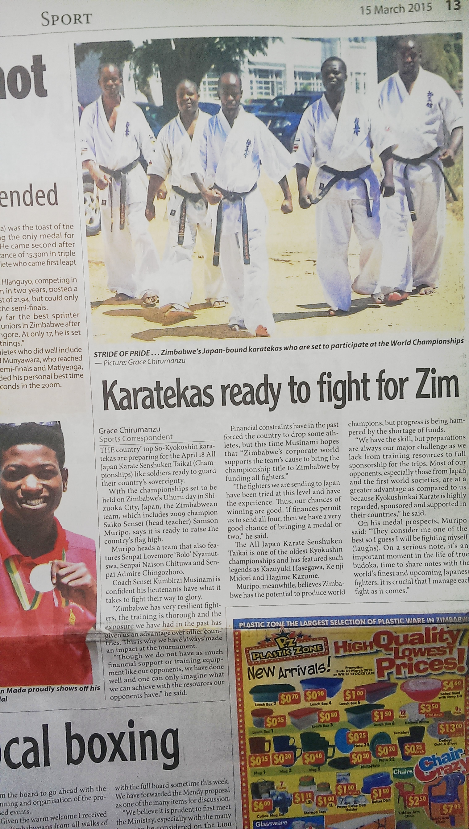 Zimbabwe team in newspaper